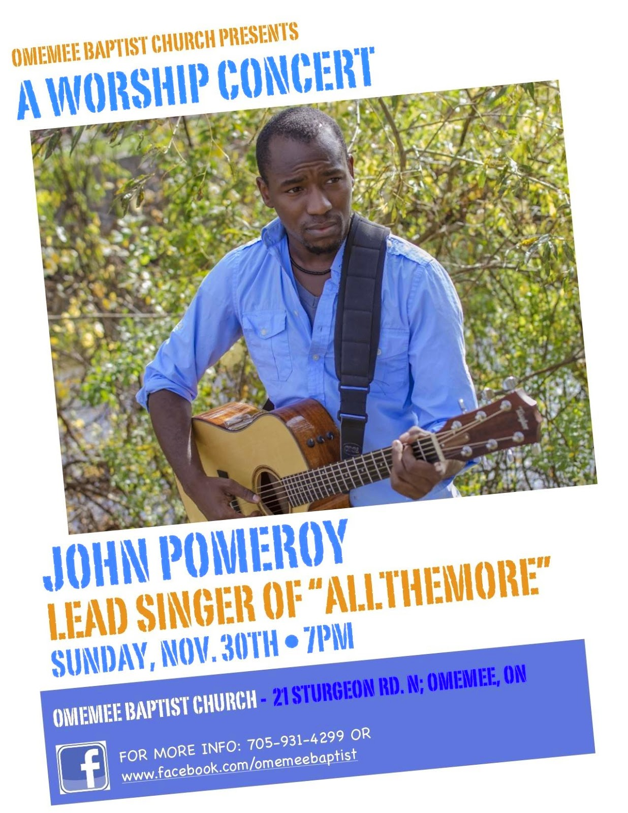 image  poster Omemee Baptist Church Hosts Worship Concert Featuring John Pomeroy