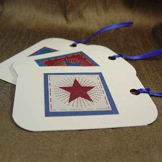 Patriotic gift tags handcrafted by Vicky of Shore Debris