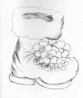 Risco para pintura em tecidos-Bota do papai Noel