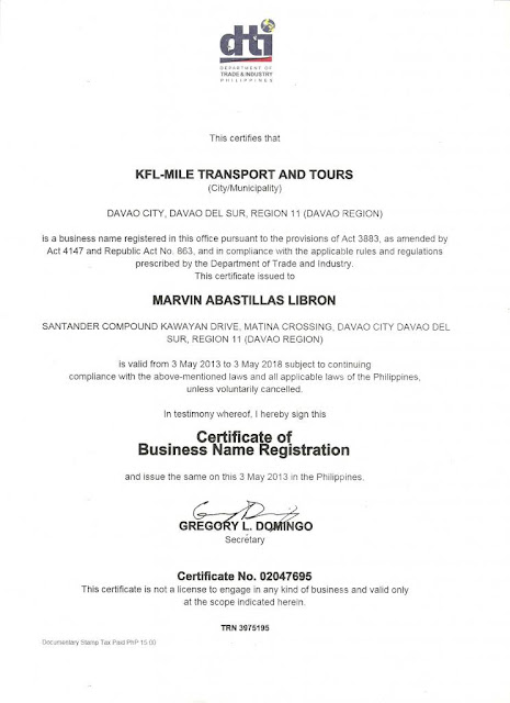 DTI Certificate of KFL-Mile Car Rental