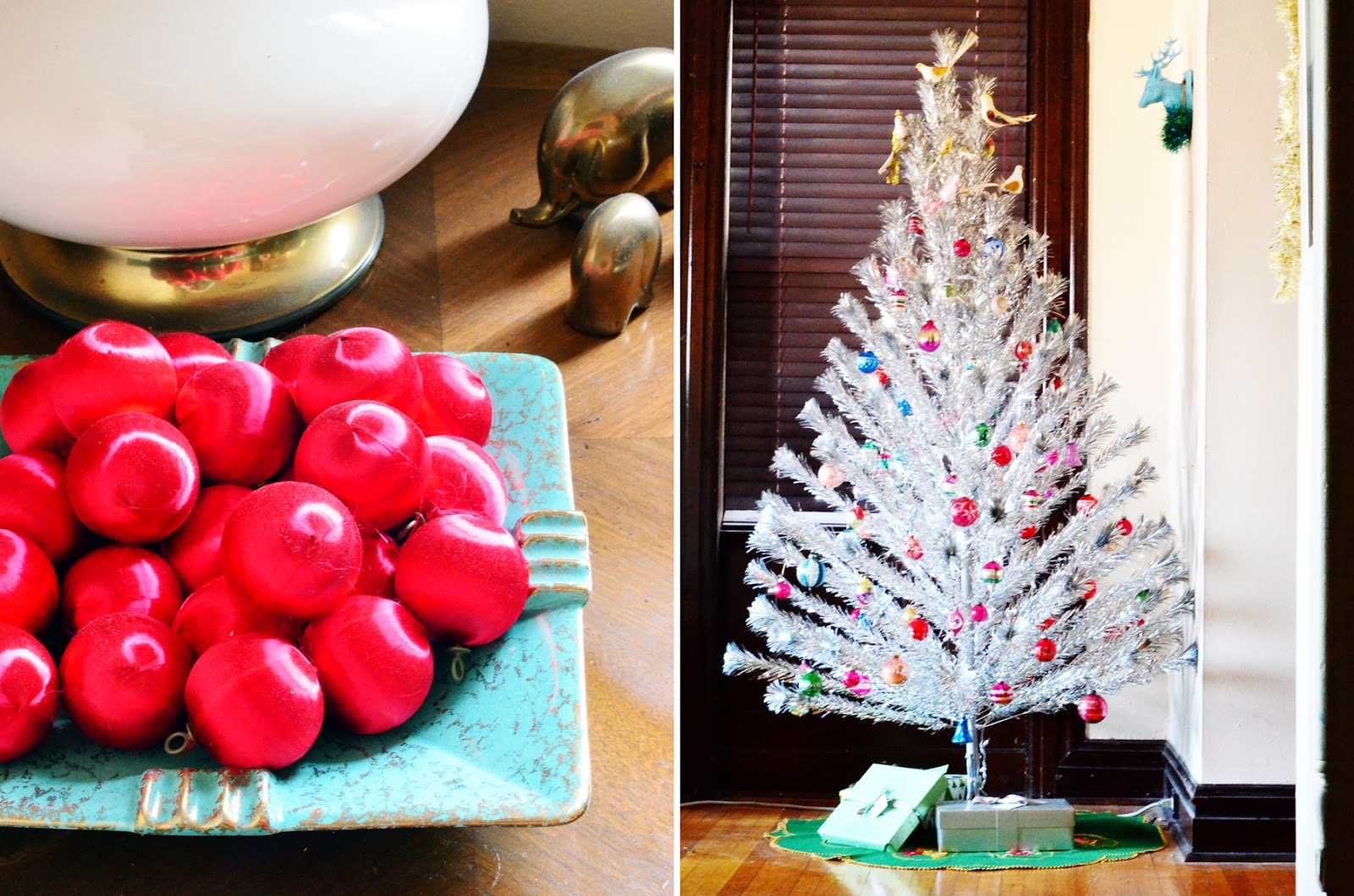 living room silk red ball ornaments in hubss grandmothers mid century dish aluminum christmas tree thrifted this summer with my grandmothers glass - Mid Century Christmas Decor
