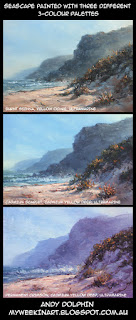 three oil paintings comparing different 3-colour palettes. andy dolphin.