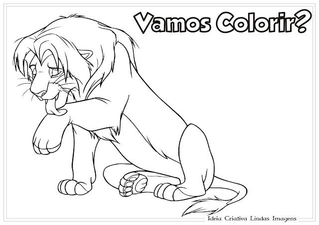 Desenho do Rei Leão para colorir