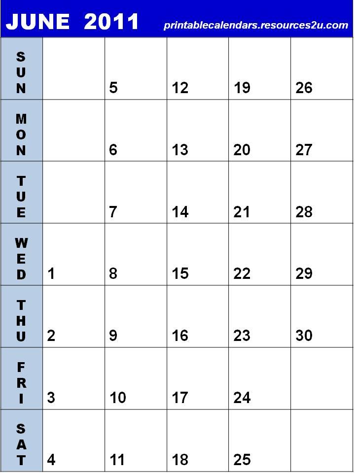 blank calendar 2011 june. Blank Calendar June 2011 to