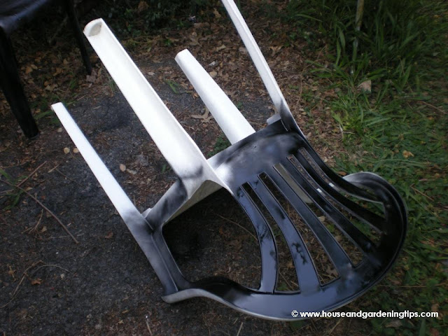 When repainting your plastic lawn furniture, don't forget to turn the chair upside down and get the underside as well as all the nooks and crannies in the legs of the furniture.