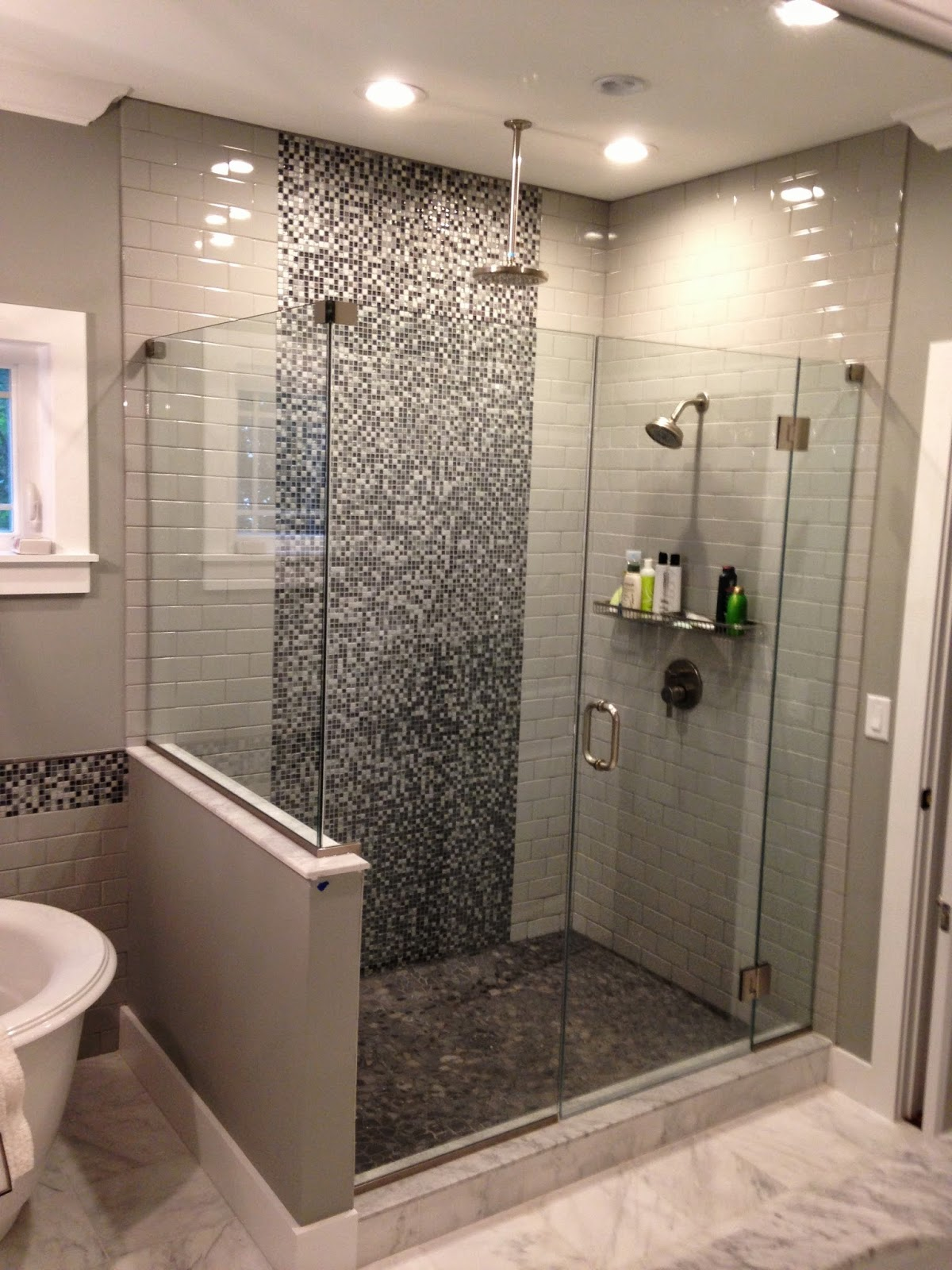 Glass tile Grey Shower rain showerhead shower head