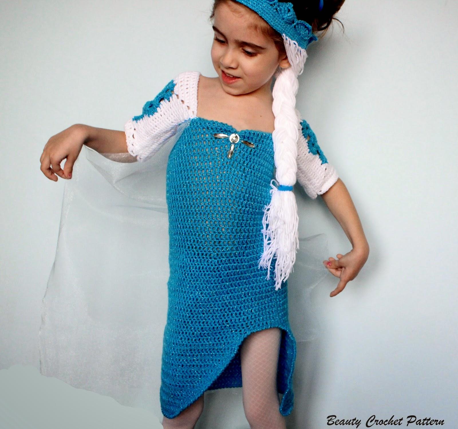 Crochet Elsa Hair Pattern : Beauty Crochet Pattern: ICE QUEEN CROCHET DRESS AND CROWN PATTERN