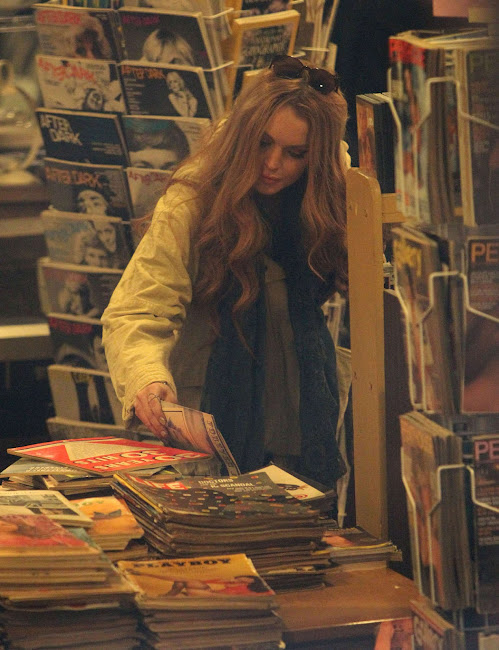 Lindsay Lohan looks for vintage Playboy magazinesin in  Brooklyn
