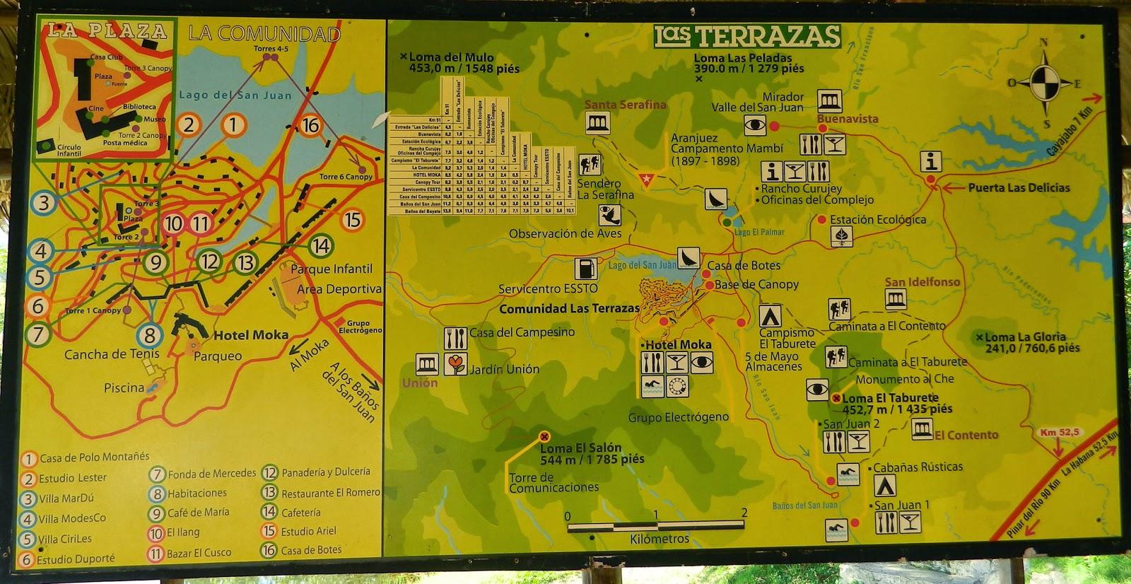 Mapa Mural del complejo turistico Las Terrazas en las montañas de la Sierra del Rosario en Cuba