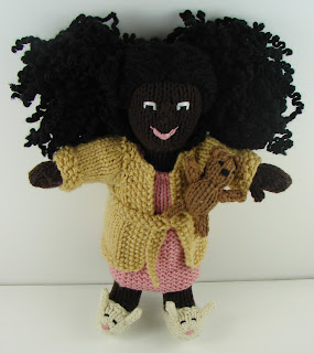 knit doll in clothes, pjs, robe, slippers bunny