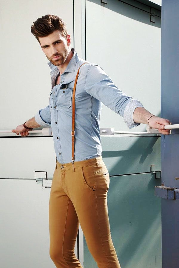 Blue Shirt Brown Pants With Suspenders Combination For Men Men S