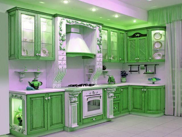 Armoires de cuisine verte g nial for Cuisine verte