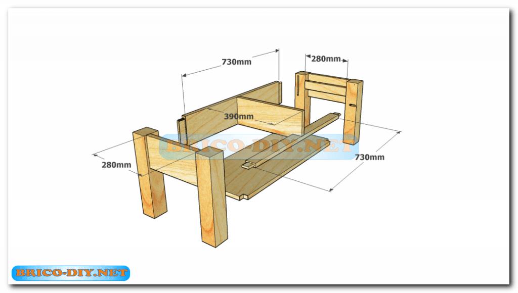 Plano como hacer mesa de centro madera web del bricolaje - Mesas de centro con cajones ...