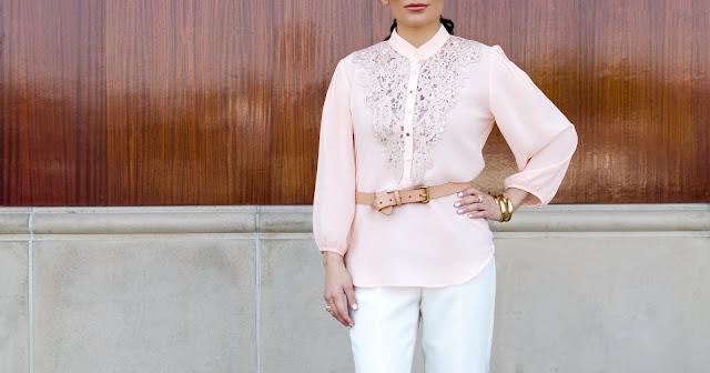 Alberto Makali Pink laser cut leather lace tunic White Wide-Leg Trousers White Wide-Leg Pants Tan Belt Gold Cuff Bracelet