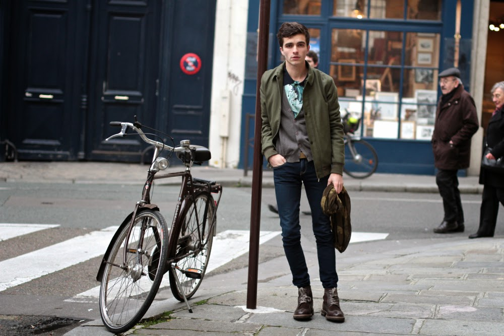 FUSION Polo, AMERICAN VINATGE Jacket Blouson, H&M Jeans, AIGLE Scarf Echarpe, Dinh Van Bracelet Menottes, Marc O Polo Boots, BLog Mode Homme Style, Mensfashion, Paris