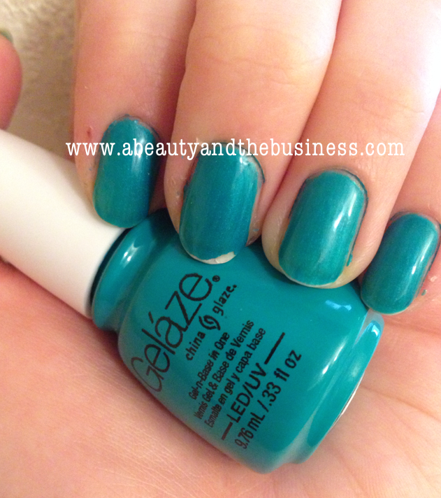 China Glaze Gelaze Polish In 'Turned Up Turquoise' , gelaze, Turned Up Turquoise, China Glaze Turned Up Turquoise,Turned Up Turquois gelaze, swatch, Turned Up Turquois swatch