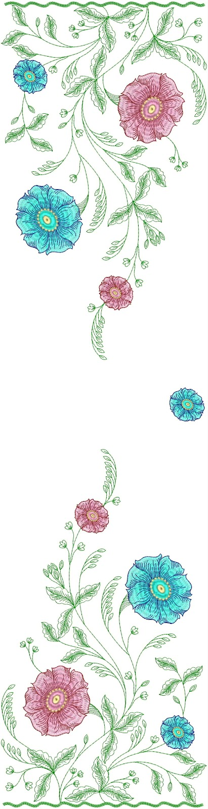 Embdesigntube floral dupatta embroidery designs