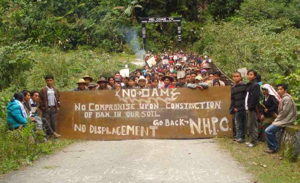 Native people opposing construction of dam in an Indian state