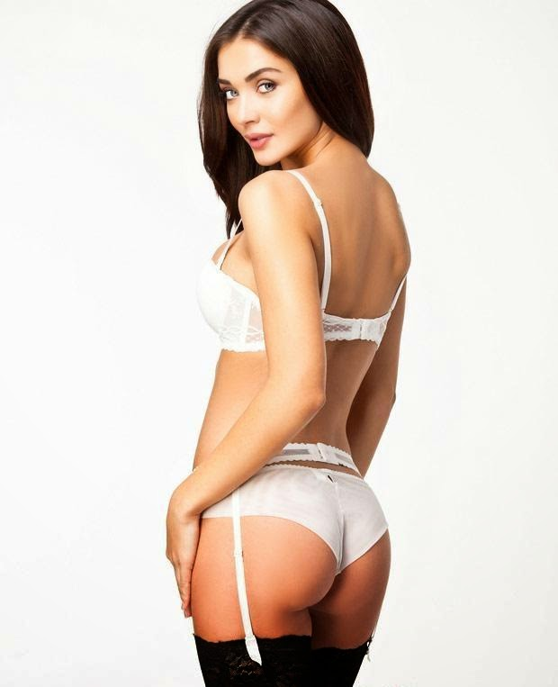 Amy Jackson In white braless stocking bareback topless hot photos of Amy Jackson