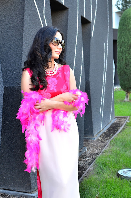 pink vintage dress gucci glasses breast cancer awareness pink ribbon breast cancer support pink feather boa