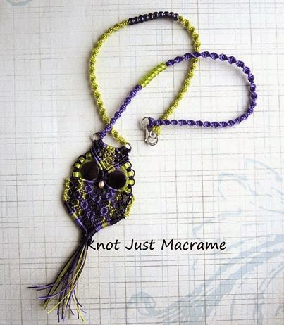 Micro macrame owl necklace by Sherri Stokey of Knot Just Macrame