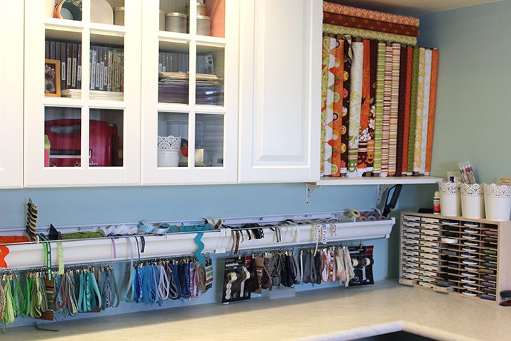 Ribbon storage in rain gutters Simply Renee Clip it up Samantha Walker studio remodel