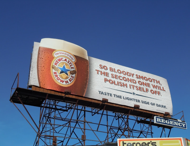 Newcastle Brown smooth beer billboard