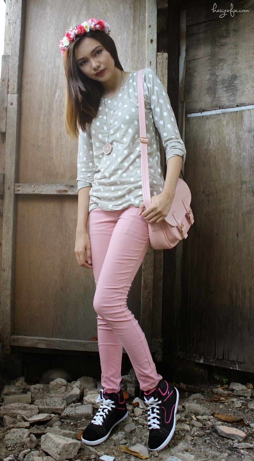 Pink Pants and Polkadot Pullover