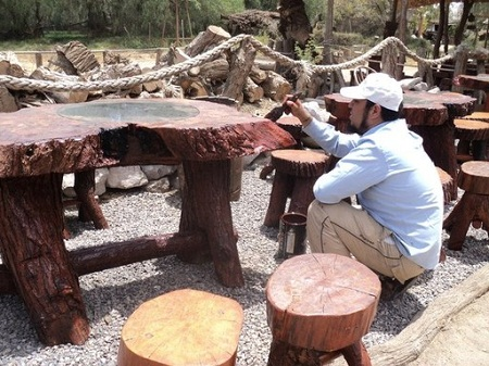 Mueble rustico bodega txoko merendero casa rural - Muebles con troncos ...