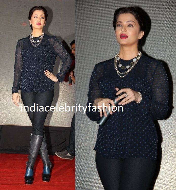Aishwarya rai in Burberry at Jazbaa Promotions