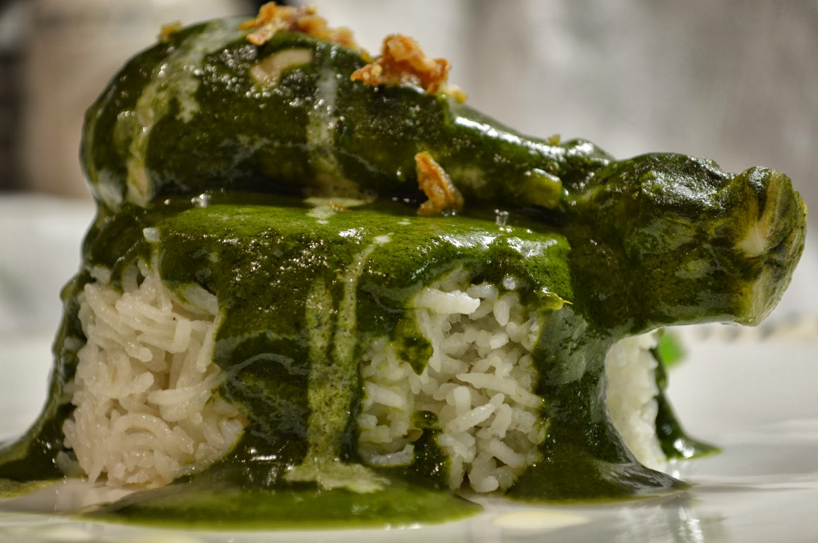Palak/ Spinach Chicken with Rice