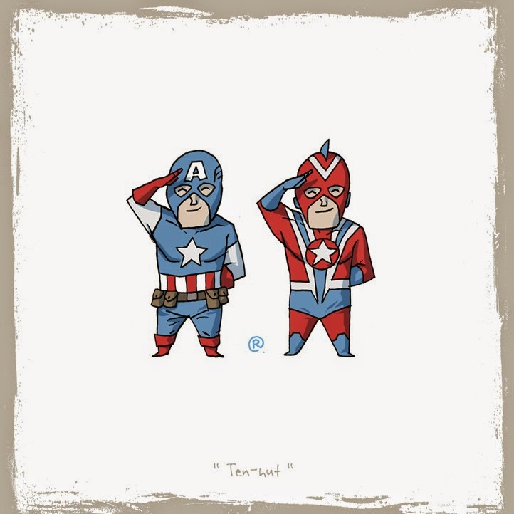 Captain America and Commander Steel stand straight  side by side.