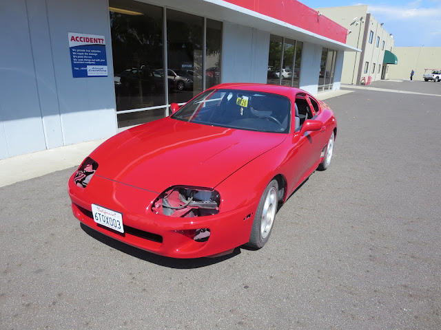 New paint on 1995 Toyota Supra at Almost Everything Auto Body--customer wants to reassemble himself