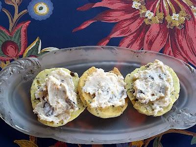 Curried Mushroom Shortbread with Mango Chutney Cheese Spread
