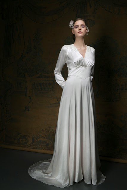 1940s Style Wedding Dress Full Length Image With Long Sleeves