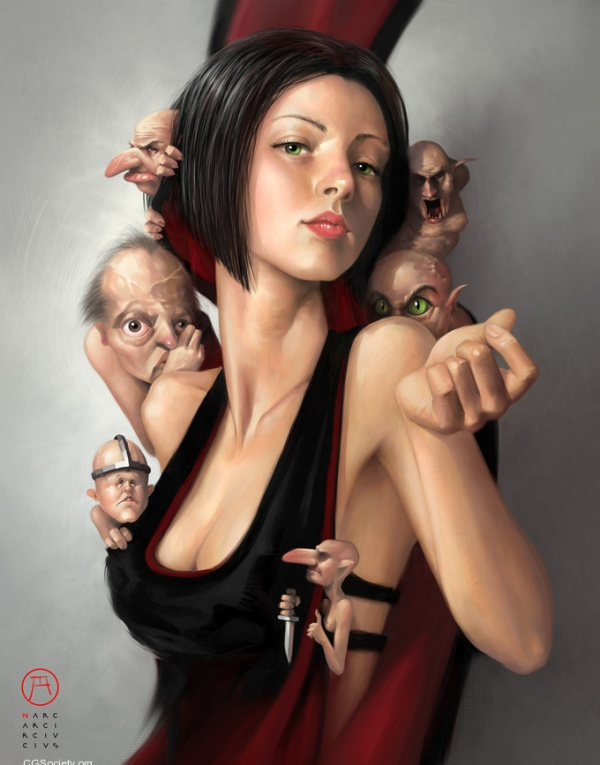 Diseño arte digital 3D 2D modelado mujer bonita
