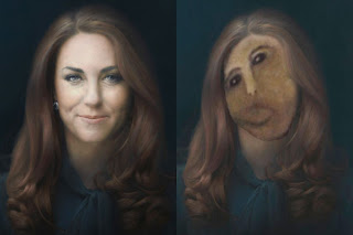Middlton's portrait on left, Middleton as the Jesus Beast on right