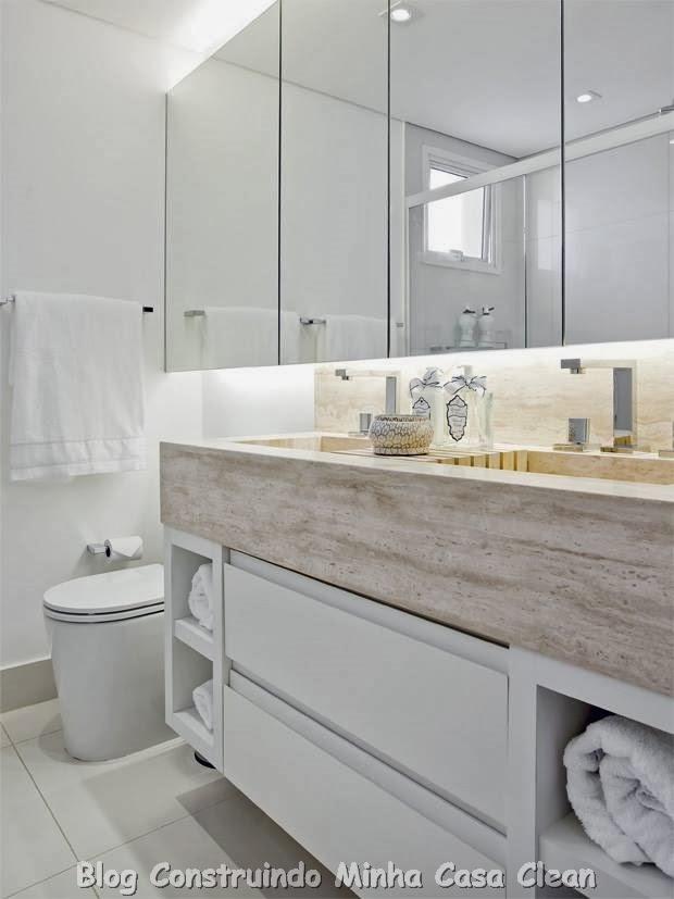 Construindo Minha Casa Clean 30 Dicas de Banheiros e Lavabos Decorados e Mod -> Banheiro Moderno Casal