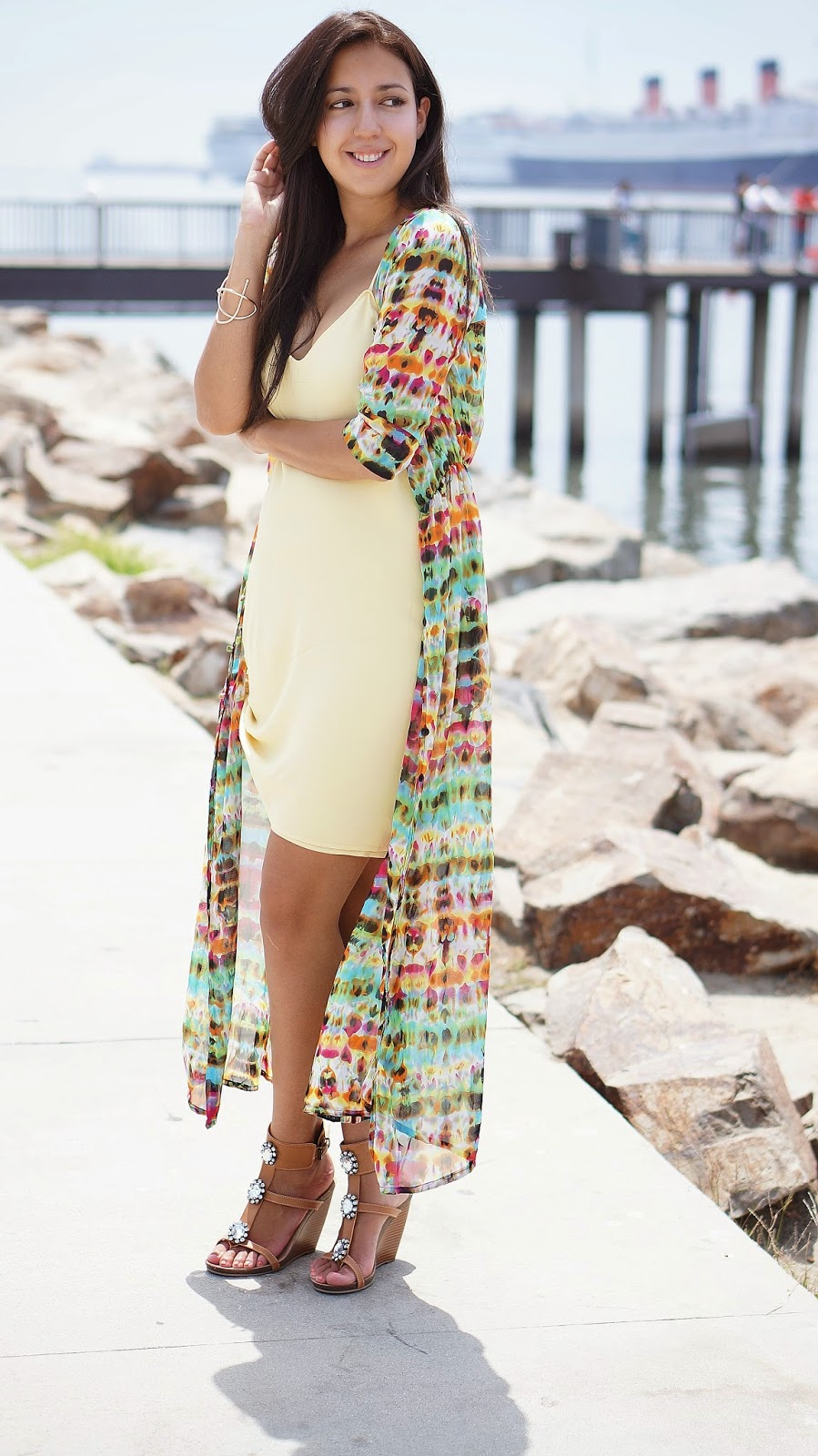 Yellow summer dress, Shoedazzle shoes, Tie Dye Cardigan