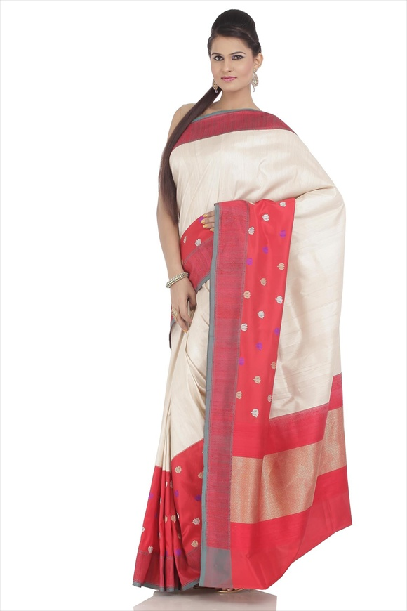 Tomato Red Kattan Silk Banarasi Saree