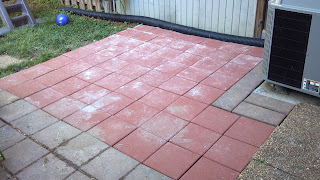 patio consisting of 12 inch red patio pavers