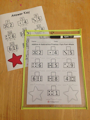 Addition and subtraction printables for math centers