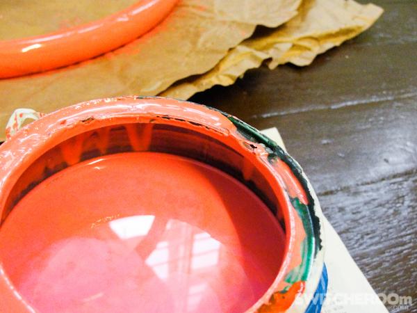 coral paint, orange paint, pink paint