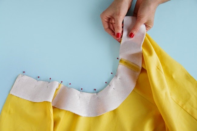 Sew neckline facings + collar