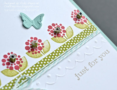 Close up of border scored with Simply Scored Borders plate from Stampin' Up