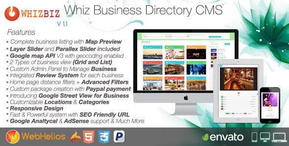 WhizBiz v1.2.0 – Business Directory CMS