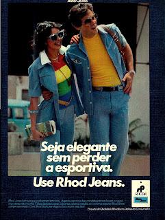 propaganda Rhod Jeans - 1976. moda anos 70; propaganda anos 70; história da década de 70; reclames anos 70; brazil in the 70s; Oswaldo Hernandez