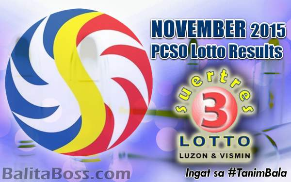 Image: November 2015 Swertres PCSO Lotto Results