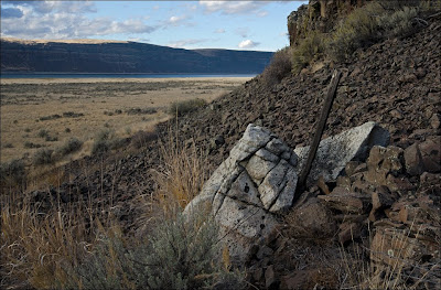 Ice-rafted erratic in the Grand Coulee.