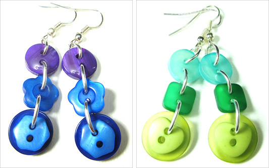 Colorful drop dangle earrings with fun buttons linked in long strands